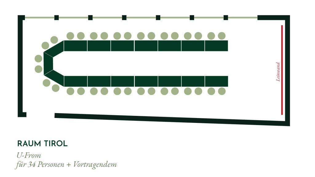 Raum Tirol – U-Form Bestuhlung für 34 Personen