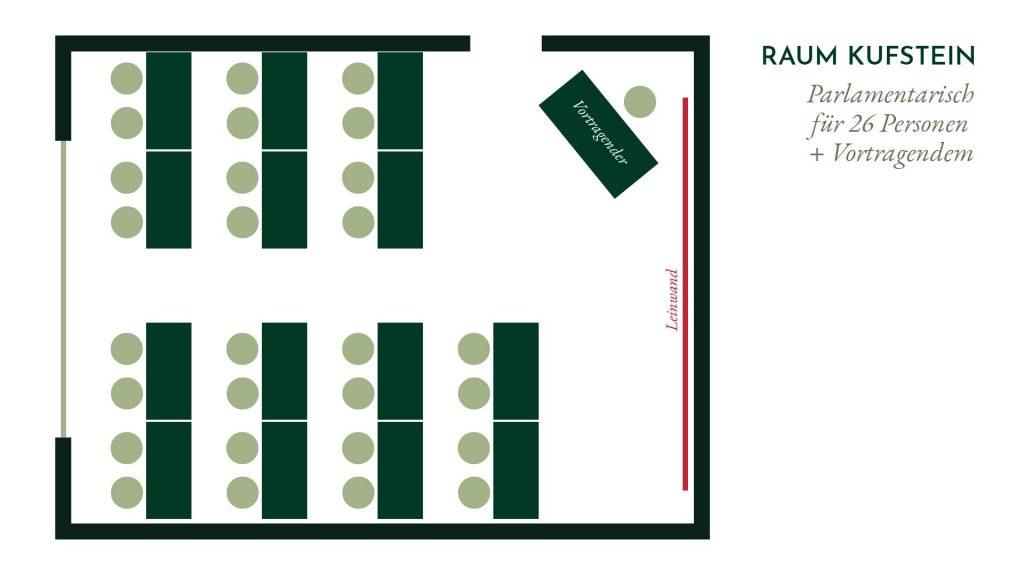 Raum Kufstein – Parlamentarische Bestuhlung für 26 Personenv