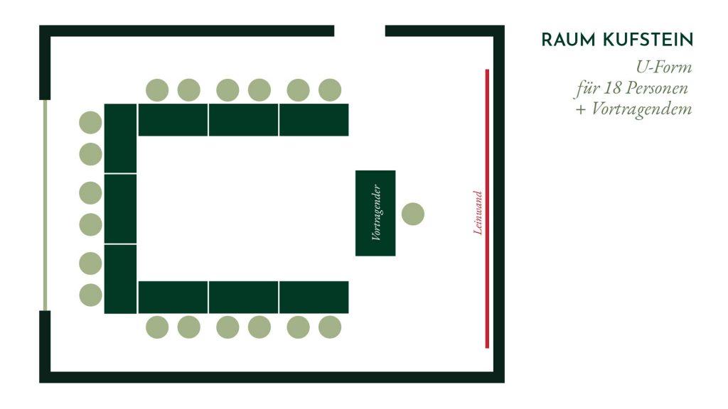 Raum Kufstein – U-Form Bestuhlung für 18 Personen