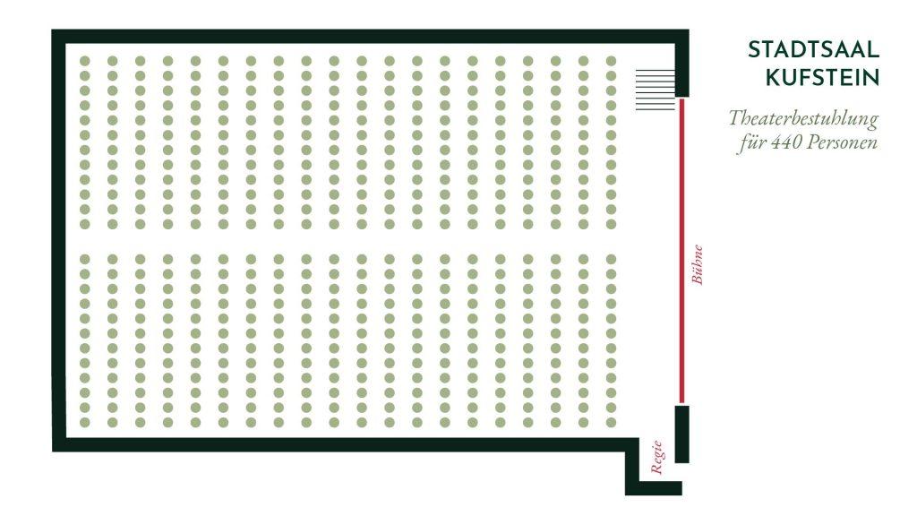 Stadtsaal Kufstein – Theater Bestuhlung für 440 Personen
