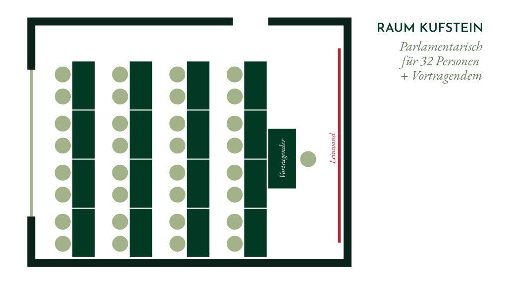 Raum Kufstein – Parlamentarische Bestuhlung für 32 Personen
